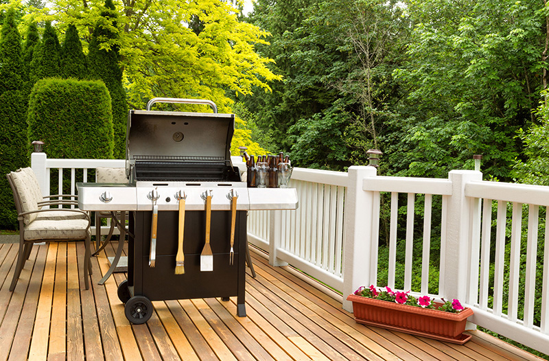 a BBQ on a deck