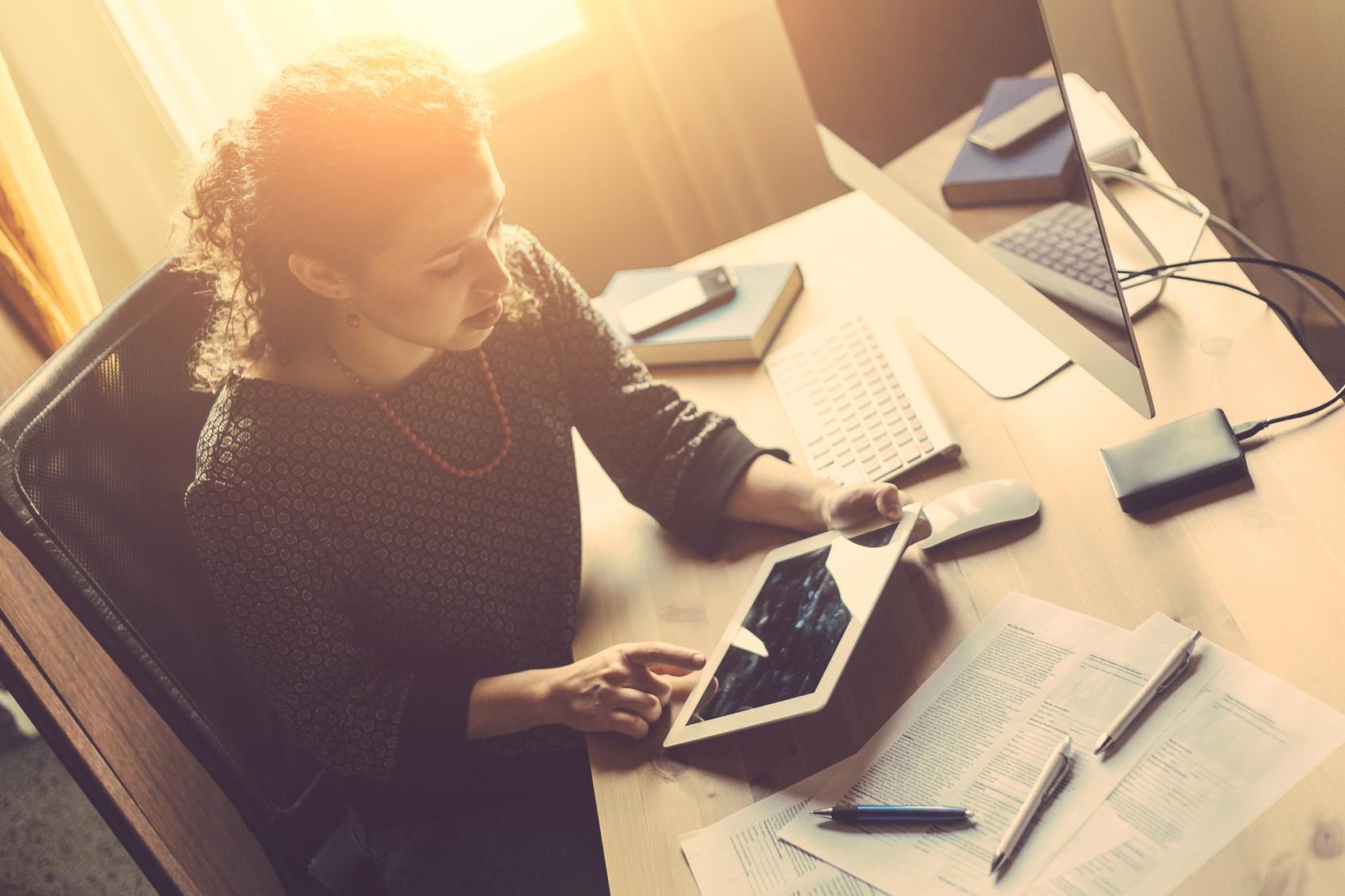 business owner at desk